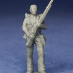 Confederate private standing still bare head
