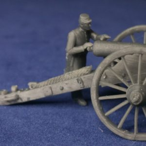Union gunner in frock coat and kepi aiming cannon