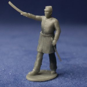 Union officer advancing with sword raised high