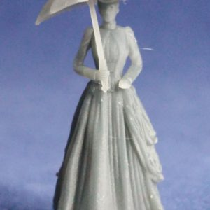 Victorian lady with unfolded umbrella