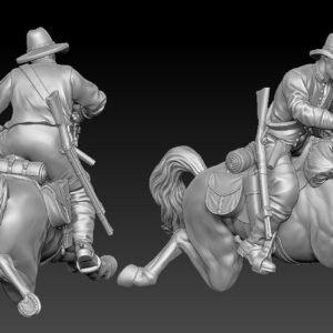 Confederate cavalry horse slipping, gun on rider